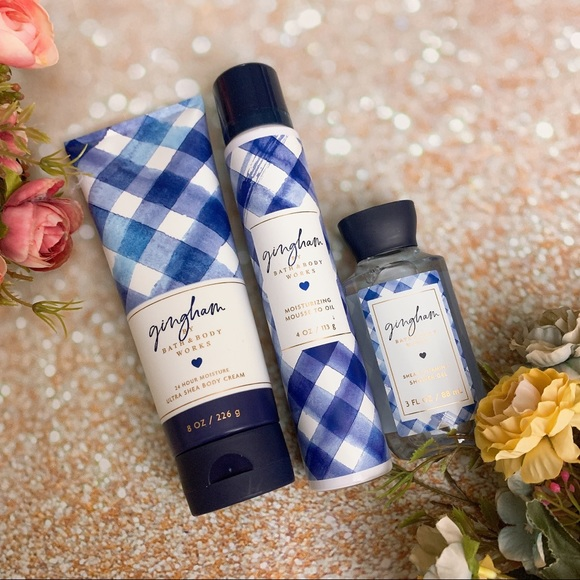 Bath and body works Gingham mousse to oil bodycare